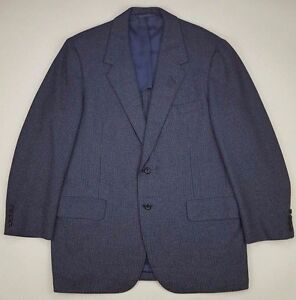Oxxford-Clothes-Blazer-42R-Blue-Checked-Geometric-2-Button-Wool-Vented-Ultimo-Sz