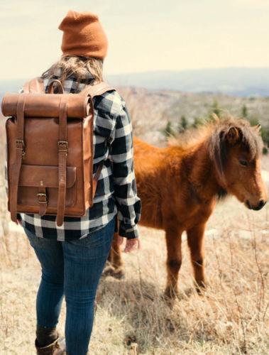 Mens Vintage Genuine Leather Laptop Backpack Rucksack Messenger Bag Satchel