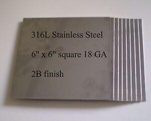 "8 pcs 316L 18 Ga 6"" x 6"" Stainless Steel Plate"
