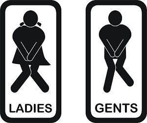 Image is loading Toilet-signs-3-Set-of-2-vinyl-ladies-