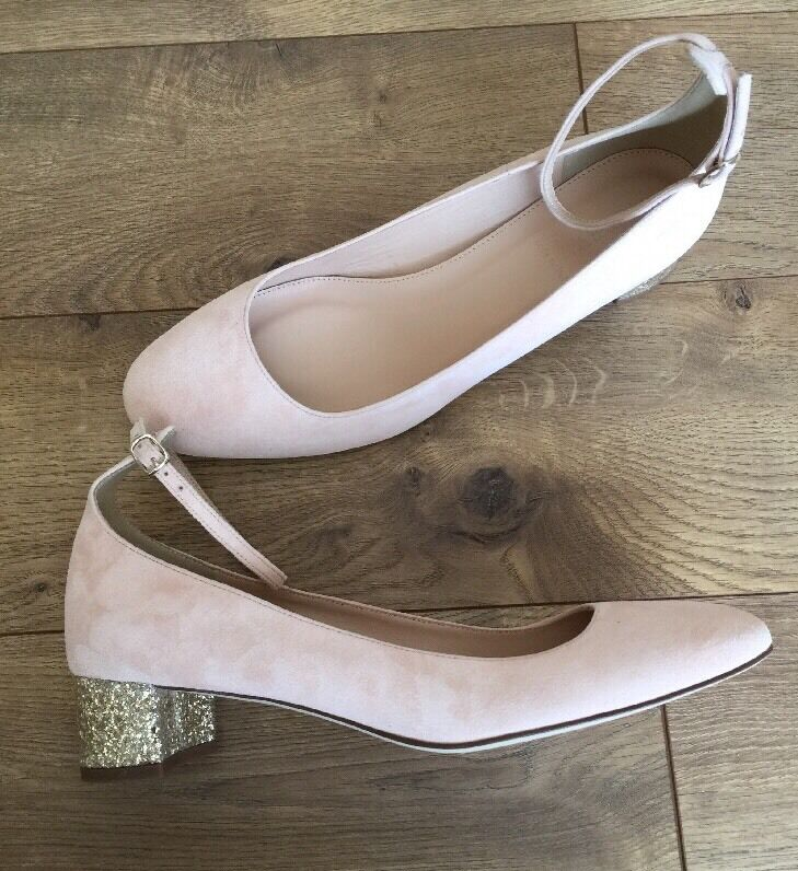 ti aspetto New JCrew    218 Contrast Glitter Heels in Suede Sz 11 Petal rosa f4978  è scontato