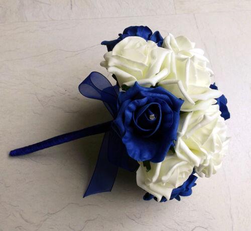 Bridesmaid Brides Bouquet Royal Blue Artificial Wedding Flowers Buttonhole
