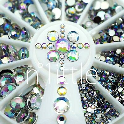 5 Sizes White Multicolor Acrylic Nail Art Decoration Glitter Rhinestones #N508S
