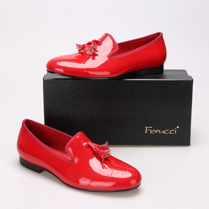 FERUCCI red custom-made Patent Leather Slippers loafers with red Tassel Scarpe classiche da uomo