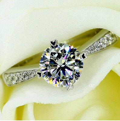 Art Jewelry Diamonique Wedding White Sapphire 925 Silver Ladys Gem Ring Size 5-9