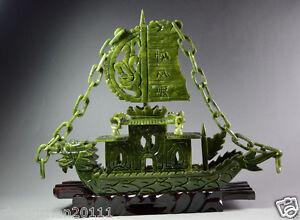 Chinese-100-Natural-Jade-Hand-Carved-Dragon-Incense-statue-Dragon-Ship