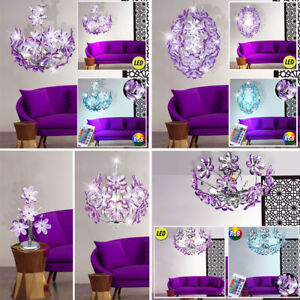 Lampe-suspension-suspendue-LED-suspendue-Telecommande-RGB-PURPLE-chrome-flowers