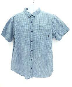 Columbia Short Sleeve Button Up Casual Checkered Blue Shirt Mens XL Regular