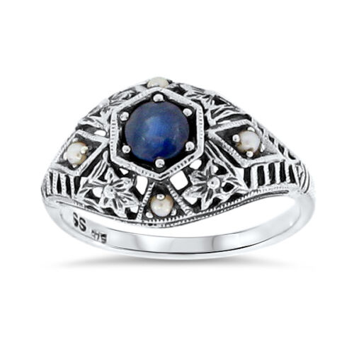 #69 ANTIQUE DECO DESIGN GENUINE SAPPHIRE AND PEARL.925 STERLING SILVER RING