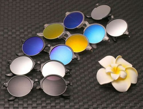 Agstum Media Montura Metal Redondo Pequeño Gafas de Sol de Moda Vintage Retro Lentes de espejo