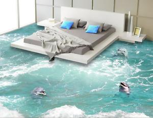 3D Amuse Dolphin 954 Floor WallPaper Murals Wall Print 5D AJ WALLPAPER UK Lemon