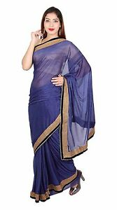 Indian Navy Shimmer Saree with Blouse for Bollywood theme costume London 7269 UK