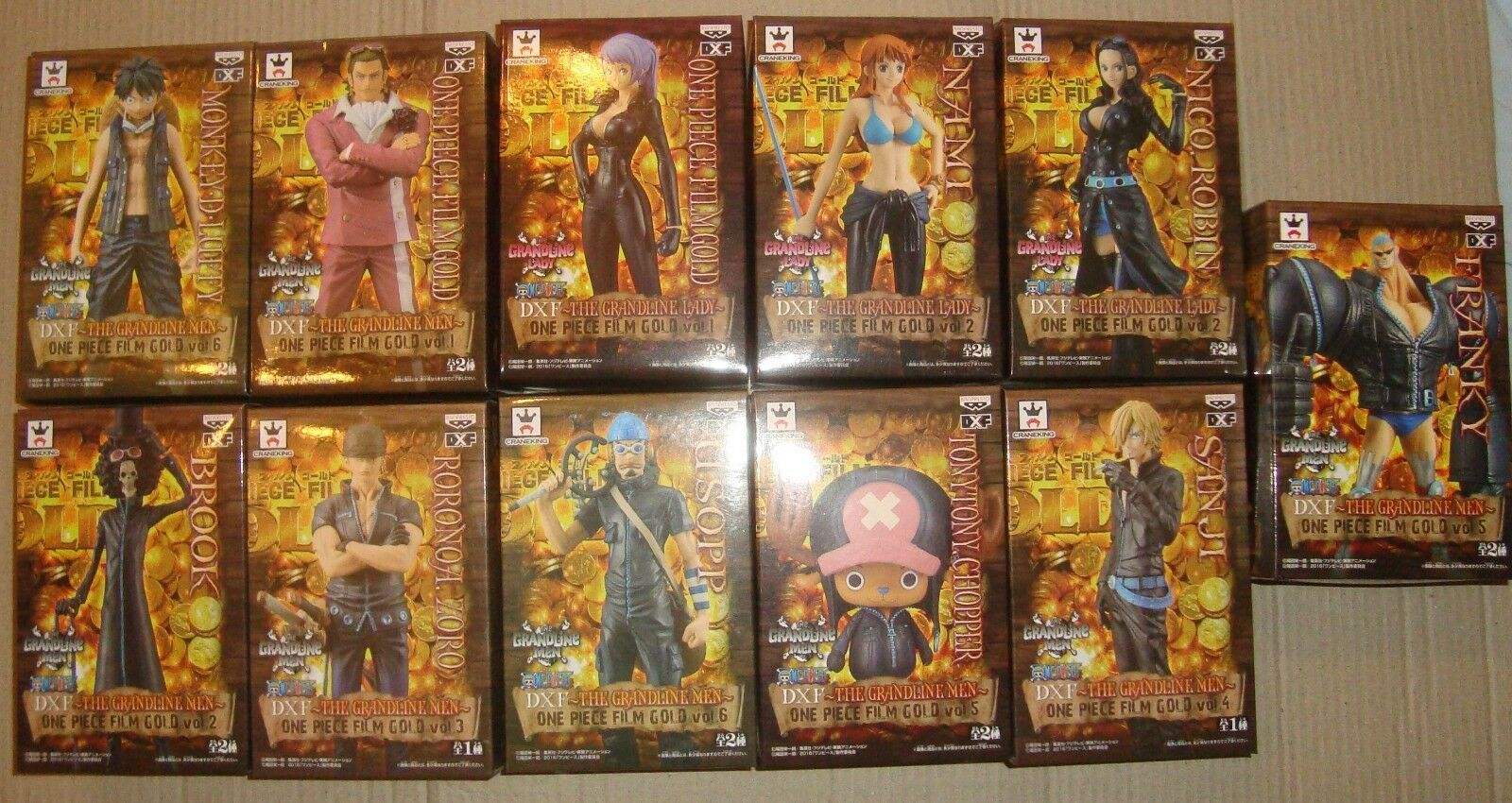 ONE PIECE FILM oro DX FIGURE THE GRANDLINE GRANDLINE GRANDLINE MEN SET COMPLETO 11 PZ. LUFFY FRANKY  barato