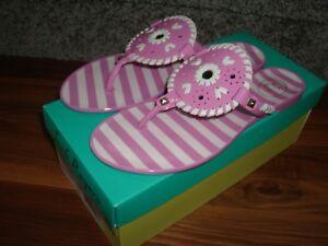 fb21414f70a8 New!  50 Jack Rogers Pink White Striped Georgica Jelly Slide 7 M