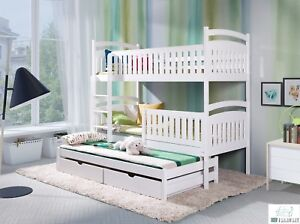 kinderbett etagenbett hochbett kinder bett holz 3 betten stockbett 90x190 weiss ebay. Black Bedroom Furniture Sets. Home Design Ideas