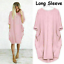 Womens-Pocket-Long-Sleeve-Oversized-Stretch-Loose-Ladies-Casual-Tops-Mini-Dress thumbnail 19