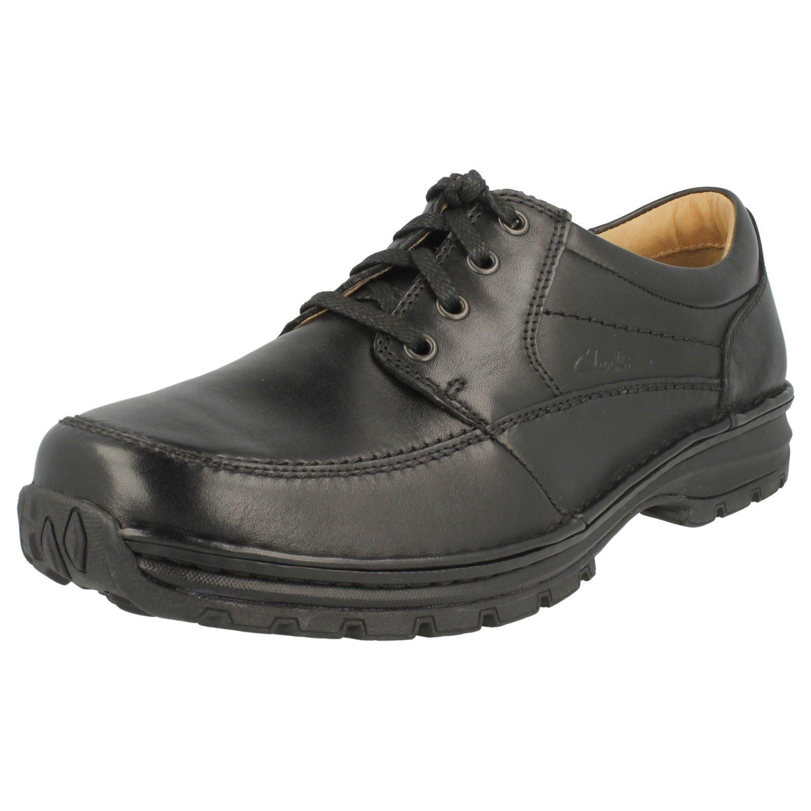 Clarks Herren Sidmouth Meile Schwarzes Leder Schuhe Breiter H Passen (R22f)