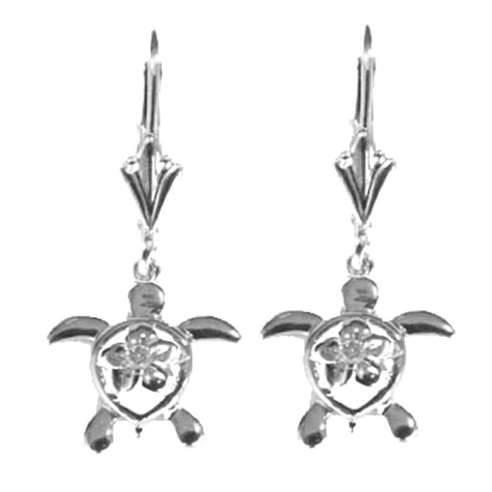 14K Solid White gold Sea Turtle Earring with Diamond E-2235 New