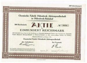 Chemische Fabrik Oldenbrok AG, Oldenbrok-Bahnhof 1926, 100 RM, ungelocht, VF+