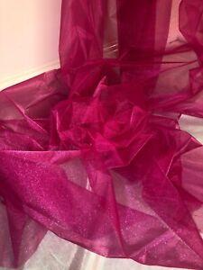 """decoración boda tela 58/"""" de ancho 1 MTR color de rosa caliente Calidad Organza Gasa Drapeado"""