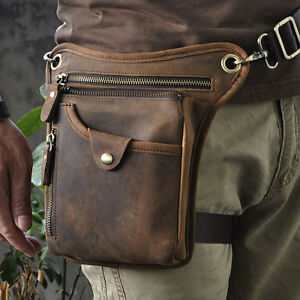 Sac-Jambe-Sacoche-Banane-Ceinture-Taille-Bandouliere-Messenger-Homme-Cuir-neuf