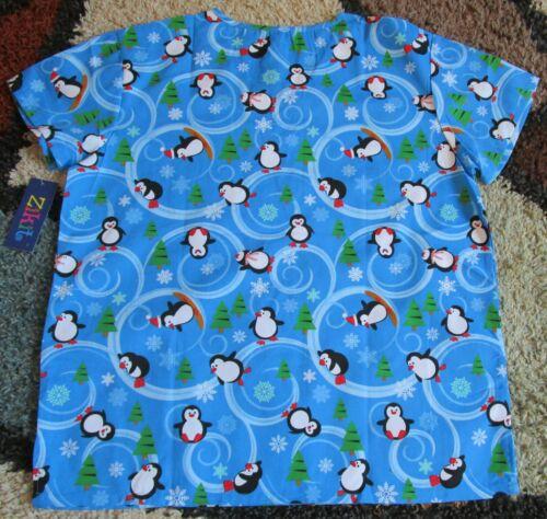 Christmas V Neck Scrub Top Bottom pockets Penguin /& Xmas Tree Print XS to XL