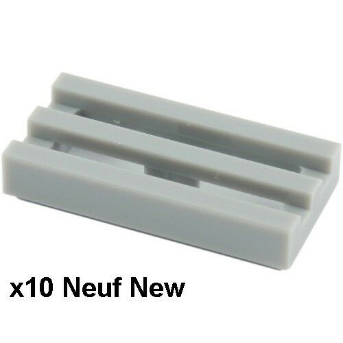 Lego 10 plaques grille 1x2 gris clair Neuves Light Bluish Gray grilles New 2412b