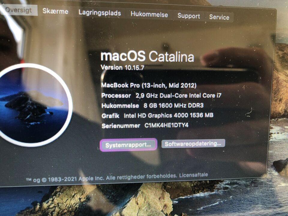 MacBook Pro, 2,9 GHz Dual-Core Intel Core i7 GHz, 8 GB ram