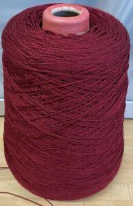 Knitting-Yarn-Cone-Artistic-500g-Maroon-2-Ply-Machine-Greek-Crochet-Vintage-Z11