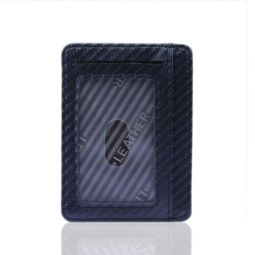 Men RFID Blocking Leather Slim Wallet Money Clip Credit Card Holder Coin Pockets