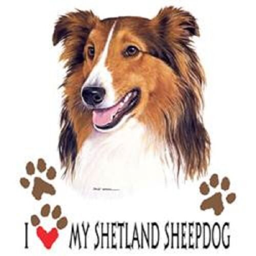 Love My Shetland Sheepdog HEAT PRESS TRANSFER for T Shirt Sweatshirt Fabric 908d