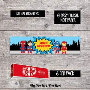 6 Personalised Superhero Birthday Party Baby Shower Kit Kat Wrappers