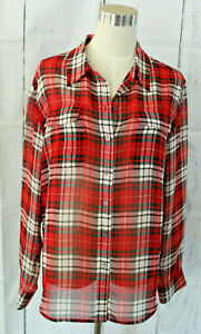 Two-by-Vince-Camuto-Womens-Shirt-Red-Black-Plaid-Shirt-Blouse-Size-M-Polyester