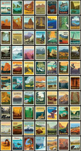 National Parks Posters Panel Black New Quilt Fabric Riley Blake 24 X 44 Ebay