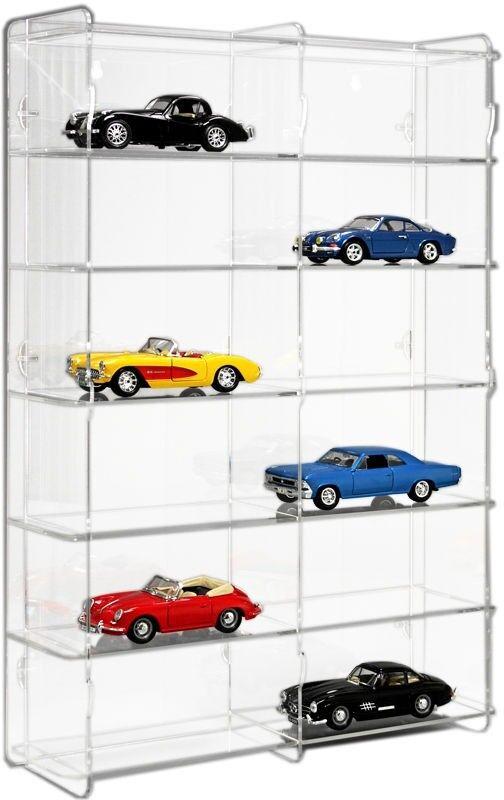 Sora voiture miniature vitrine 1 24 avec transparent fond de panier pour 12 Voitures de modèle