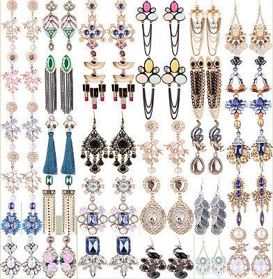 Fashion Women Long Tassel Silver/Gold Plated Crystal Dangle Hook Earrings