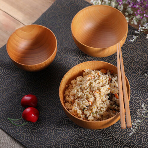 BG/_ BL/_ Wooden Rice Bowl Noodle Soup Dinning Heat Insulated Kitchen Tableware Wi