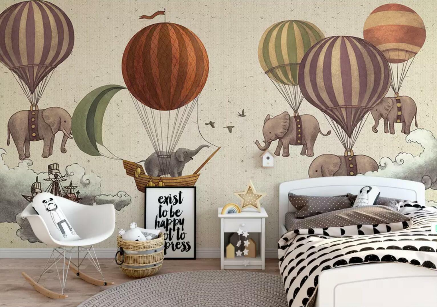 3D Elephant Balloon 3 Wall Paper Exclusive MXY Wallpaper Mural Decal Indoor wall