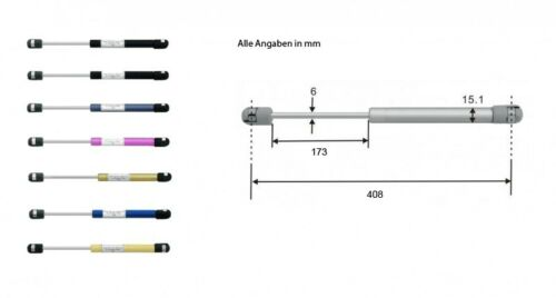 Gasdruckdämpfer Gasdruckfeder Gasfeder Heckklappendämpfer 408mm 80N silber 8349
