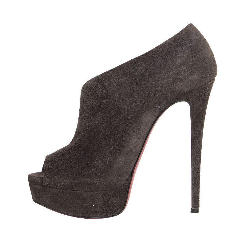 53241 53241 53241 auth CHRISTIAN LOUBOUTIN grey suede leather Platform VERITA Pumps shoes 37 c6603e