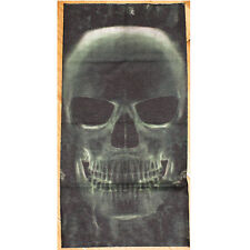 Mens Tube Snood Scarf Full Size Human Skull X Ray Black Biker Mask Green 2 sided