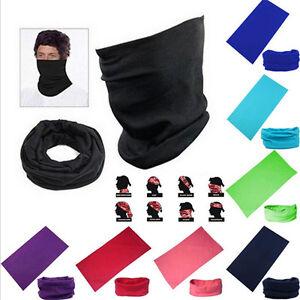 Unisex Scarf Tube Bandana Head Face Cover Neck Gaiter Snood Headwear Solid