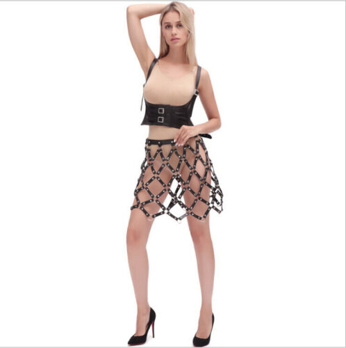 Handmade Party Dancing Cage Frame Leather Skirt Dress Harness Body Bondage Belt