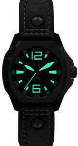 100% QualitäT Lum-tec Uhr V3 Phantom Automatisch Herren Schwarz Leder Limitierte Autorisierte Starke Verpackung