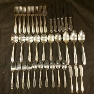 Antik Vintage Alvin Louisiana Patent 37 teilig Bestecke Set Silverplate