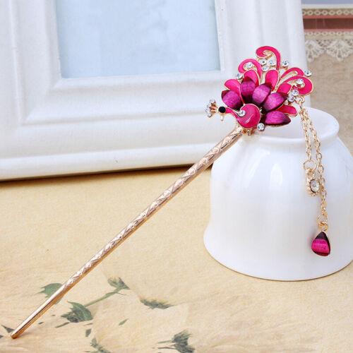 Fashion Women Crystal Metal Hair Chopsticks Hair Stick Hairpin Chignon Pin Gift