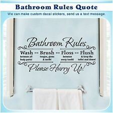 Bathroom Rules English Quote Saying Vinyl Wall Home Decor Art Sticker Decal S052