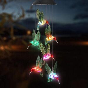 LED Solar Kolibri Windspiel Licht Farbwechsel Gartendeko Solarleuchte  PRO