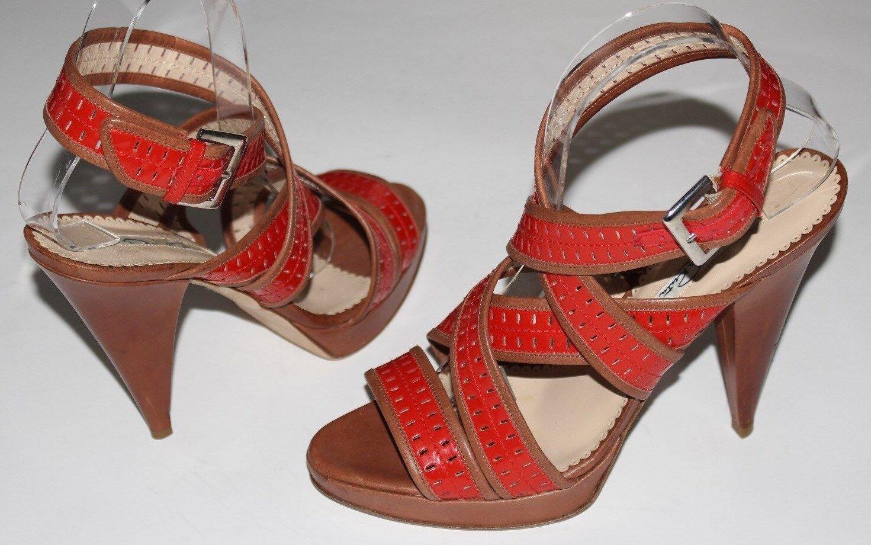 Oscar de la Renta 8.5 Red orange Tan Leather Strap Sandal 4.5  Heel .7 Platform