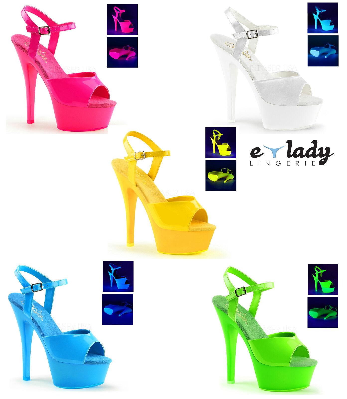 Pleaser Kiss-209UV Schuhes Platform Sandales Neon Stilettos High Heels Ankle Strap